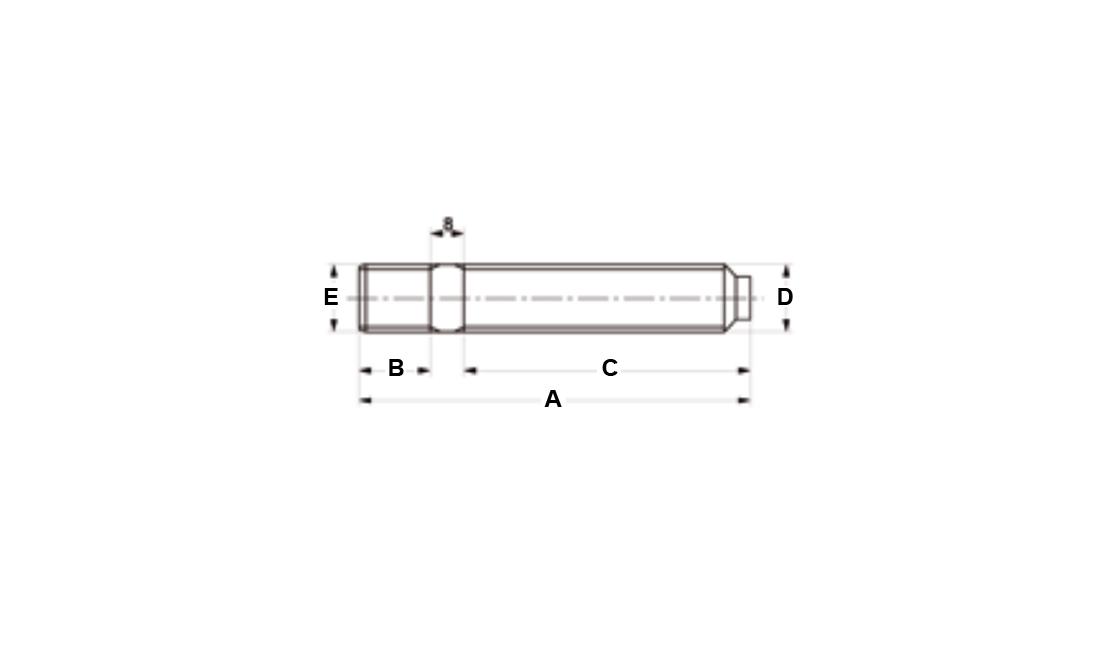 Colonnette ruota a doppia filettatura 12x1,25 lunghezza 68 mm.