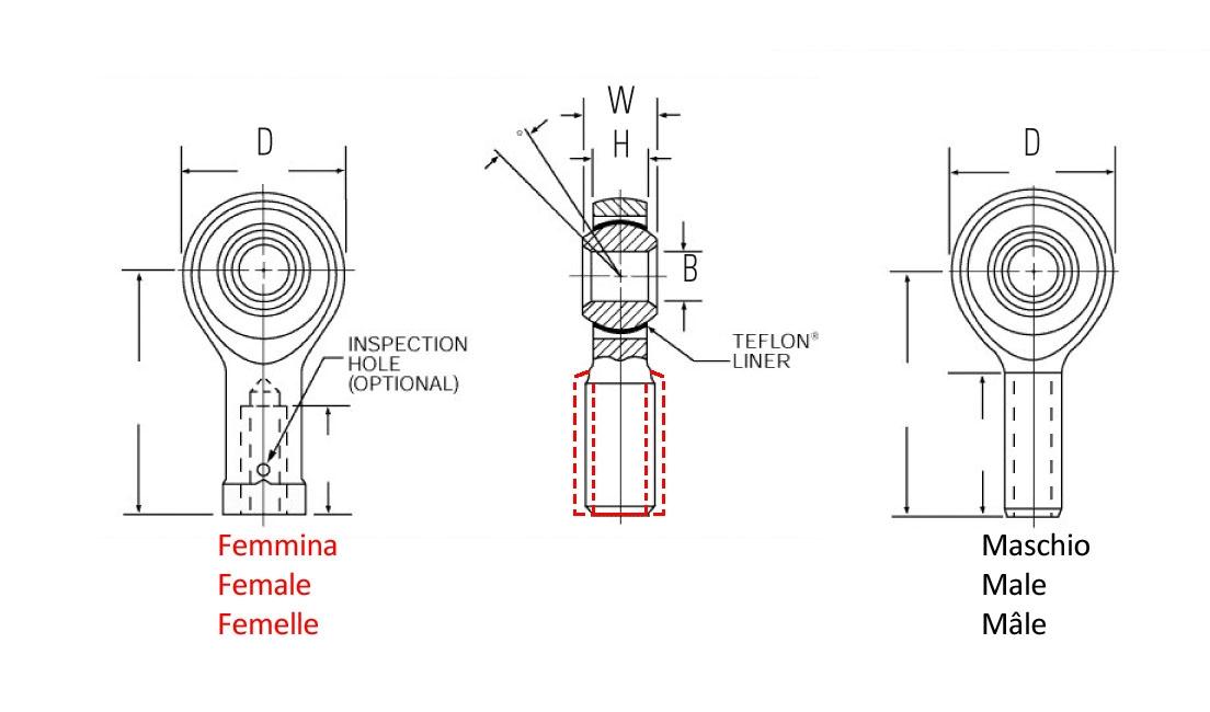 Testa a snodo filetto femmina (Ø foro 6,350 mm - Filetto UNF 5/16 x 24)